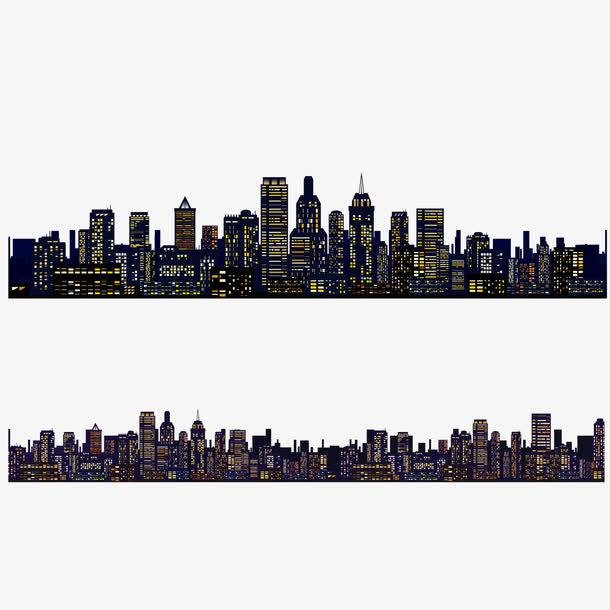 矢量加长建筑群城市夜空