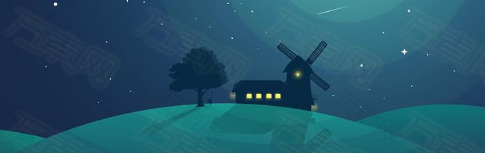 卡通小屋风车背景