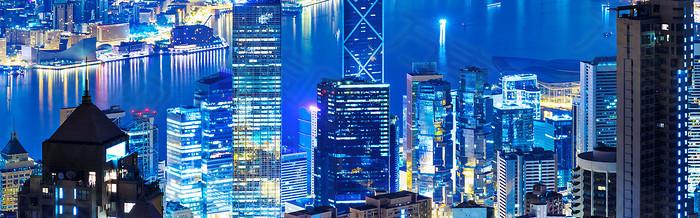 俯视都市夜景海报背景