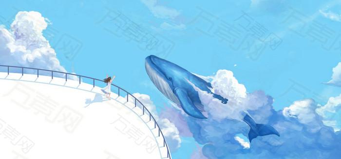 卡通鲸鱼banner