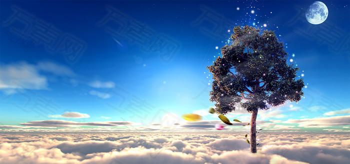 树木云海背景