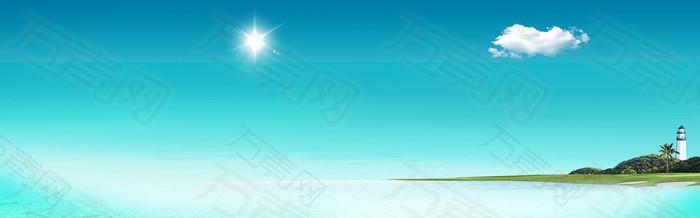 唯美海滩展板banner背景