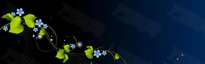 黑色清新绿叶banner背景