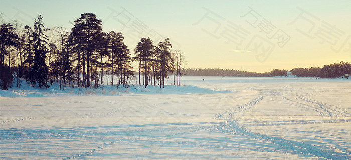 冬季雪景背景图
