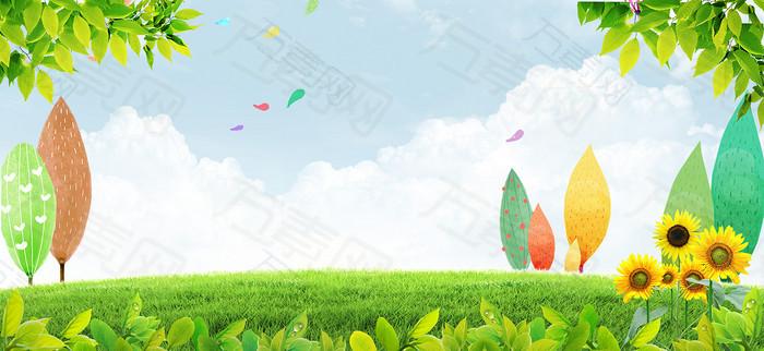 卡通手绘清新背景banner
