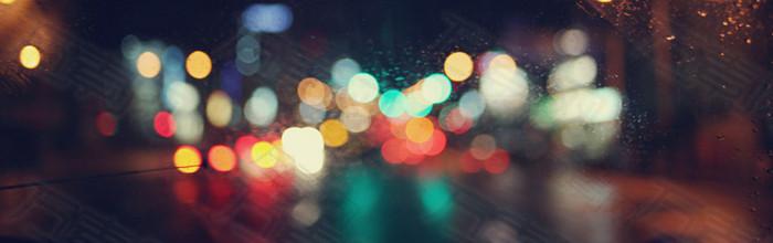 朦胧毛玻璃都市夜景海报背景