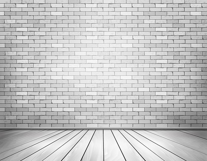 矢量白色质感立体砖墙壁地板背景