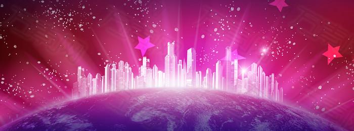 紫色背景 星空