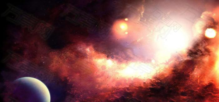 红色星空太空宇宙