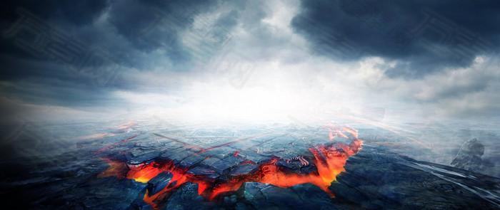 激情火山背景