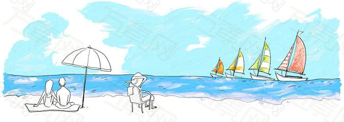 卡通漫画海上背景banner