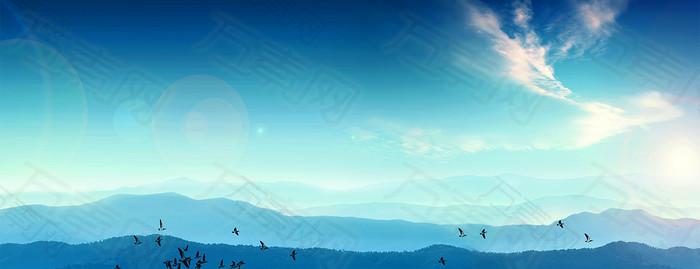 大气蓝色商务会议背景