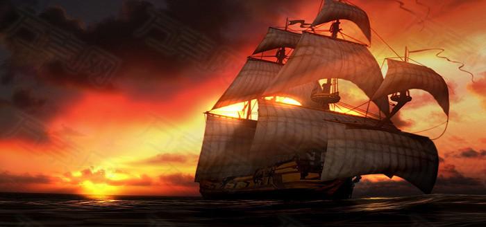 黄昏的帆船手绘
