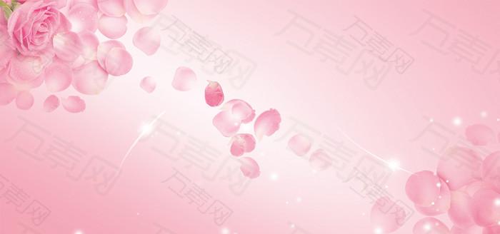 浪漫粉玫瑰花瓣背景