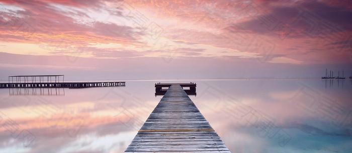 短桥唯美夕阳唯美浪漫背景图