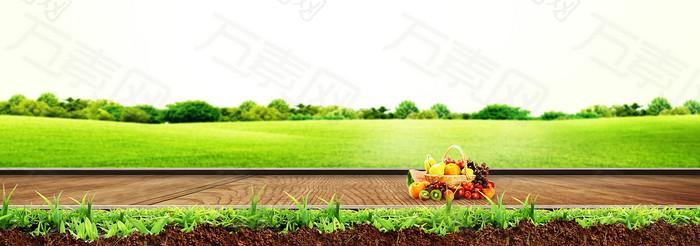 清新水果草坪木板背景banner