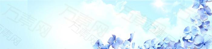 护肤品清新花卉背景banner