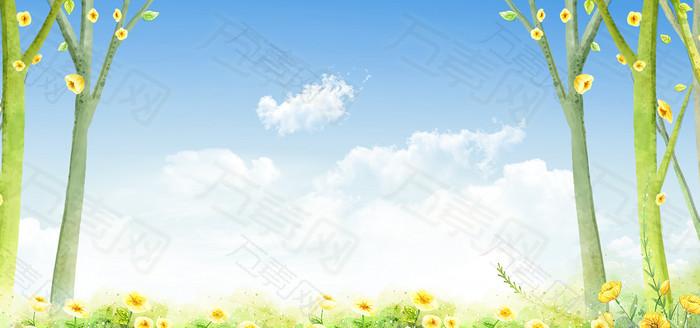 卡通树木鲜花背景图