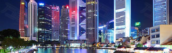 唯美大气都市夜景霓虹灯海报背景