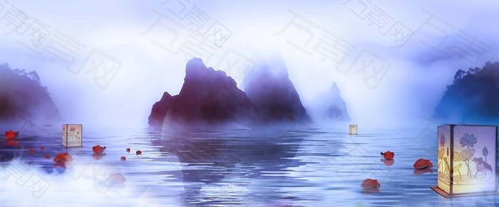 山水雾气背景图