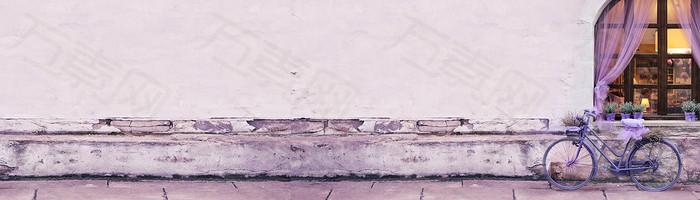 紫色背景路边banner