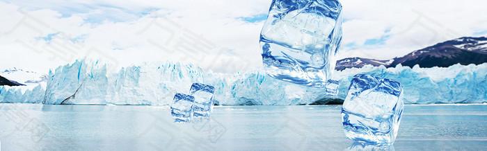 夏季雪山冰块背景