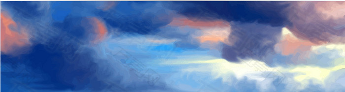 创意卡通风格天空云朵AI背景