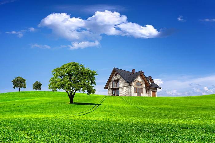 草地蓝天白云大树木屋背景