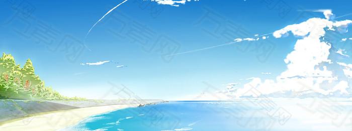 大海白云蓝天温馨背景