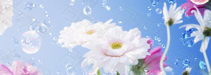 高清炫彩花卉钻石banner背景