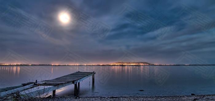 湖边海边风景系列背景