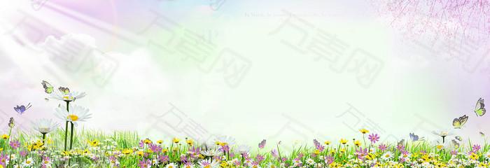 简单暖色花草风景图片