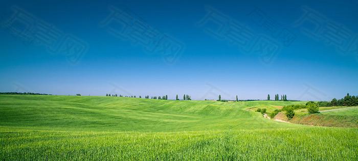 蓝天白云与望不到边的草原海报背景