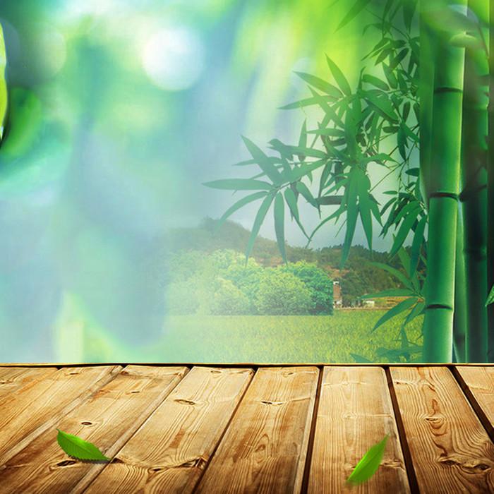 绿色竹林木板PSD分层主图背景素材