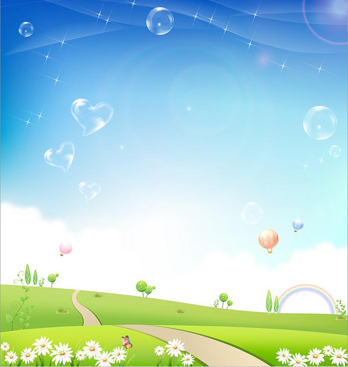 卡通蓝天草地背景