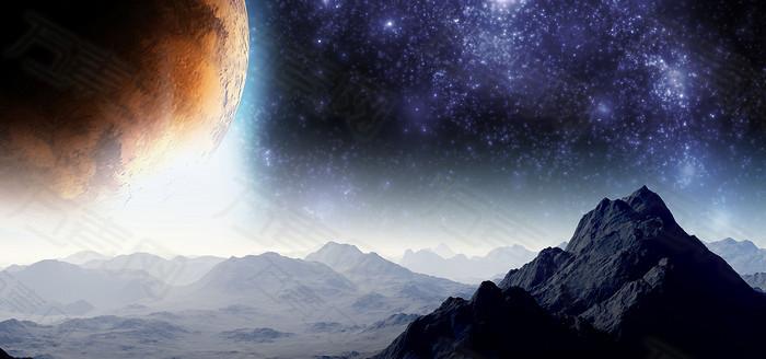 太空星空山脉