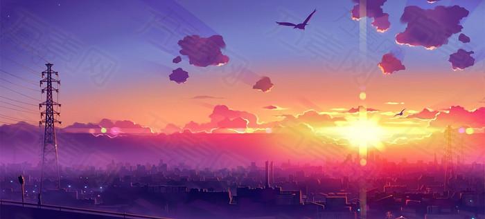 夕阳绘画风景图