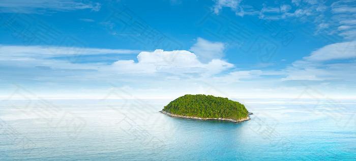 唯美蓝色湖中小岛海报背景