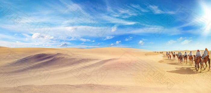 蓝天沙漠海报背景图
