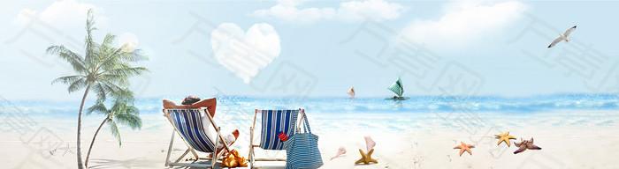 浪漫沙滩背景