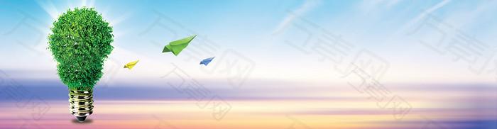 绿色环保灯泡背景