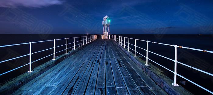 夜色木桥海报素材