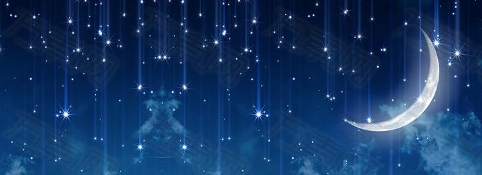 简约唯美星空月亮星星海报背景