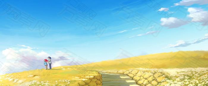 卡通田野风景