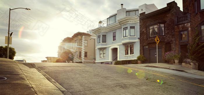 欧式街头下午阳光背景