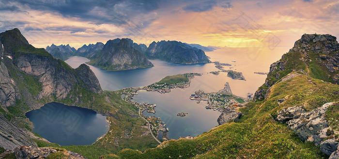 河流岛屿背景