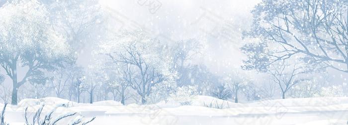 树林唯美雪景背景banner