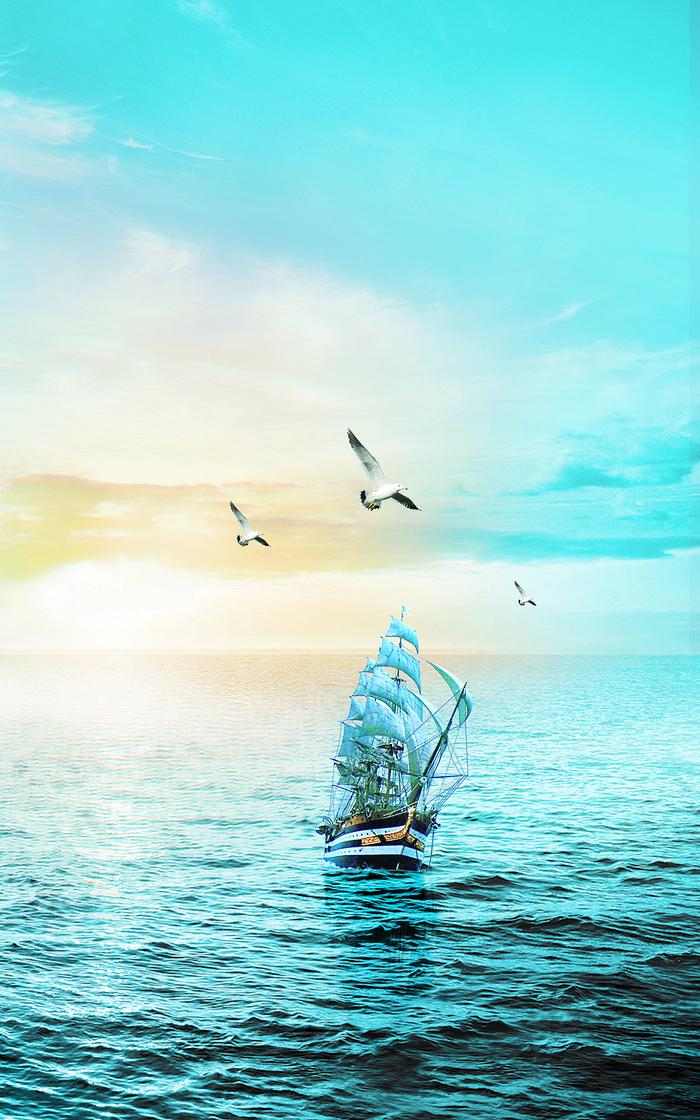 蓝色大海帆船海鸥背景图