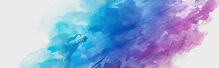 蓝紫色水彩涂墨笔刷banner背景
