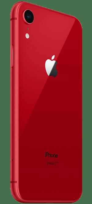 红色iphonexr苹果手机背面侧身图片